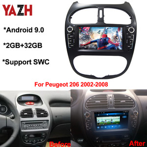 YAZH Android 9.0 2+32GB car dvd cd player for Peugeot 206 FM radio 2002 2003 2004 2005 2006 2007 2008 car multimedia