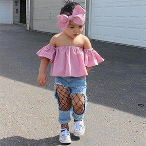 Cor Rosa Hot Adorável criança Crianças Baby Girl Alças T-shirt Ruffle Tops roupas de verão Outfits cair ST05 enviado