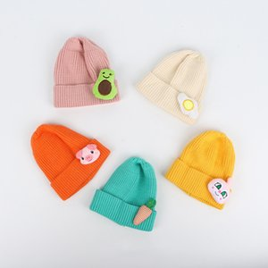 New Style Korean-style CHILDREN'S Hat Candy-Colored Cartoon Doll Knitted Hat Winter Warm Pullover Crimping Wool Cap Baby 200924