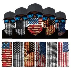 Лицо маски США стиль флаг бесшовные банданы многофункциональный велосипедный шарф череп волшебный тюрбан женщины мужчины наружные повязки