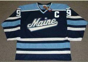 Custom Men Youth women Vintage #9 PAUL KARIYA Maine Black Bear 1993 CCM Hockey Jersey Size S-6XL or custom any name or number