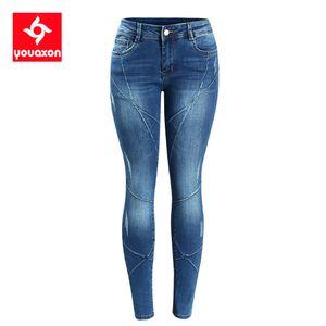 2086 Youaxon Women`s Crossing Line Patchwork Plus Size Brand New Mid Low Waist Stretch Skinny Pants Jeans For Women Denim Jean CX200821