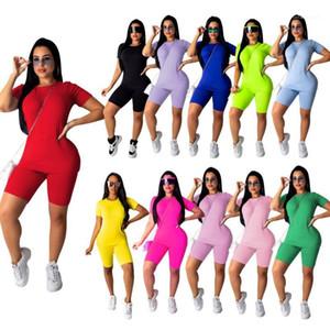 Solid Color Impresso manga curta Suits Casual Rua Vestuário Womens Style 2 Piece Set Ladies Verão Designer multi cor Fatos