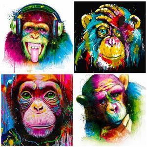 5D diamante bordado de punto de cruz colorido arte del mono del diamante Pintura taladro completo Square / Ronda de mosaico Decoración Animal Gift