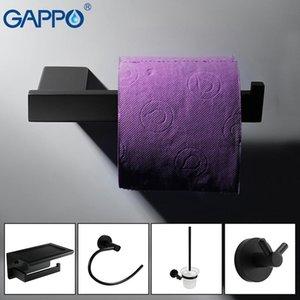 Bad-Sets Schwarz-Bürsten-Soap Badezimmer Set Robe Edelstahl Papierhalter Haken Stahl Zubehör WC Regal Gappo Hardware hbtcz SQ2009
