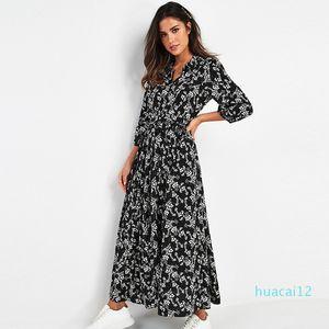 Горячая продажа 2020 женщин Элегантный Длинные платья Печатается три четверти рукава богемское Maxi платье Turn Down Воротник рубашки платье Vestidos