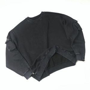 Черный Проблемного Толстовка Негабаритных руна реглан пуловер Zip рукав Hip Hop Streetwear