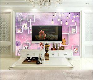 WDBH Custom photo 3d wallpaper Cute kitten square pink background home decor living room 3d wall murals wallpaper for walls 3 d