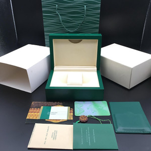 الصندوق الأخضر أفضل نوعية الأخضر الداكن ووتش هدية مربع وودي حالة الساعات كتيب بطاقة الكلمات وأوراق الساعات صناديق