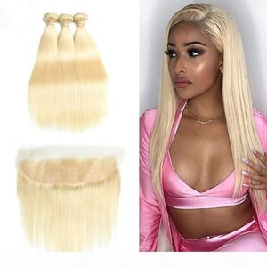 Peruvian Straight Hair Bundles With Lace Frontal Closure 613 Blonde Human Hair Frontal with Baby Hair 3 Bundles With Closure Remy Extension