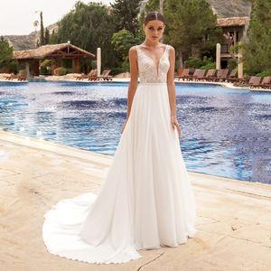 Summer Boho Wedding Dress Sexy V Neck Chiffon Beach Wedding Dress Lace Applique Bride Dress Wedding Gowns Vestido De Noiva