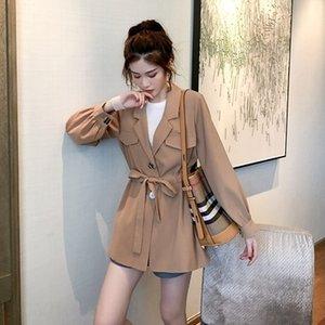 suitcoat Luz amadurecer temperamento cintura rendas-up soltas de comprimento médio leve amadurecer temperamento terno fino para myJs0 mulheres Outono 2020 n HJl0G