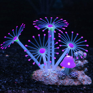 Geschenk Artificial Coral Craft Aquarium Dekoration Ornament Silikon Glowing-Effekt