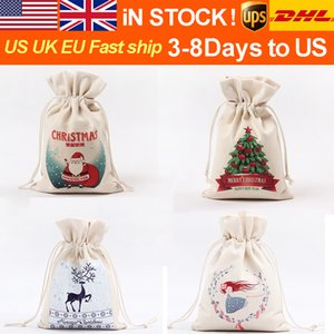 크리스마스 포장 선물 가방 캔버스 6.3 * 9.3 인치 크리스마스 축제 손 스토리지 가방 작은 백이 입 기프트 컬렉션 포켓 능 직물