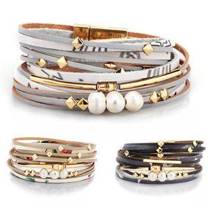 Böhmische Wrap Armbänder für Frauen Leder Manschettenarmbänder Mit Perlen Perlen Feder Schmuck Armreifen Mutter Schwester Mädchen Geschenke