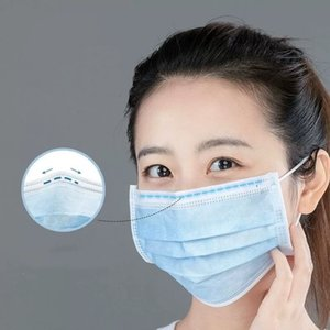 Wholesale disposable three-layer mask with melt blown cloth dust fog anti pollen UV adult male and female disposable face mask blue ear wear