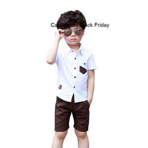 New Summer School Boys Clothing Set Fashion Kids Cotton Short Sleeve Shirt + Shorts 2pcs Suit Gentleman Children Outfits F137