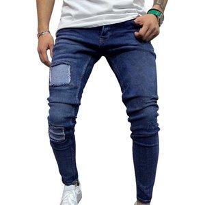 Adisputent Erkekler Hip Hop Jeans Skinny Jeans Delik Denim Pantolon 2020 Yeni Erkekler Yüksek Bel Katı Casual Pantolon Destroyed yırtık