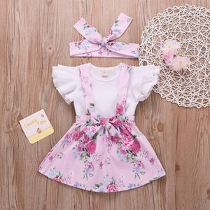 RU Sale Summer 4Years Girls Clothing Sets 3Pcs Baby Girl Clothes Ruffle Sleeve Tops+Floral Skirt+Headband Kids Clothes Suits D20