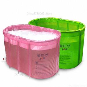 Folable bañera para adultos Doble no inflable plegable plegable Baño Baño barril de bañera de hidromasaje Anti Slip PVC con tapa WrZ0 #