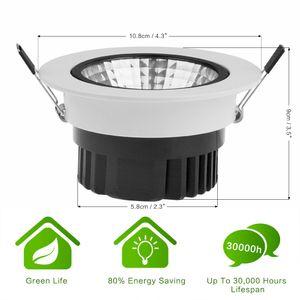 Konesky 12W LED Cool White COB Ceiling Light Recessed Spotlight Downlight Cool White AC 100-245V With Black + White Colors