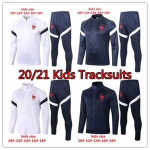 20/21 Frence Team National Enfants Jacket Mbappé Pogba Chemise de football enfant Chemise de football Kits de football garçons Giroud Enfants Entraînant costume