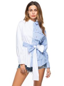 kadın moda Bluzlar uzun Gömlek yaka boyun rahat gömlekler Sashes streetwear bayan ilkbahar sonbahar bluz yay kollu