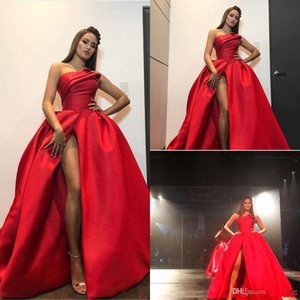 Zuhair Murad Red Plus Size Evening Dresses 2020 Sexy High Split Strapless Ball Gown Prom Dress Backless Floor Length Celebrity Pageant Gowns