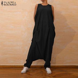 ZANZEA 2020 Jumpsuits Women Oversized Overalls Sleeveless Baggy Harem Pants Drop Crotch Playsuits Combinaison Femme Trousers 5XL Y200904