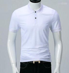 صلب أبيض أسود بدوره إلى أسفل الياقة الأزياء ALL MATCH بولو شيرت بأكمام قصيرة الكلاسيكية الرجال بولو الصيف