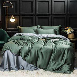 4pcs de luxo 100% Folha Silk Beauty cama Set 25 Momme Silk Duvet Cover Set Plano Lençois fronha para Home Bed Conjunto 4pcs
