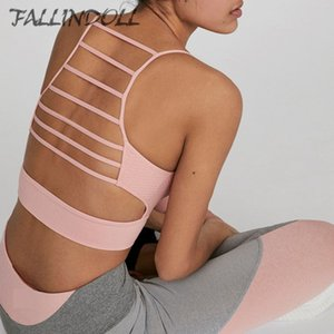 Tampon Kırpılmış Üst spor giyim Tank Tops Koşu Spor Yoga için FALLINDOLL Kadınlar Gym Sütyen Enerji Kesintisiz Crop Yelek Spor Bra