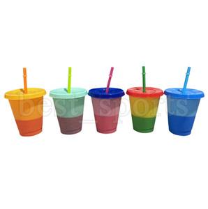 16 oz Color de los cambios de temperatura Copas PP material sensible Copas Botellas flaco Vasos Taza de café de agua con tapa pajas CYZ2689