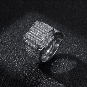 Hip Hop Mens Jewelry Rings Diamond Iced Out Bling Rings High Quality Fashion Gold Silver Ring .