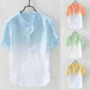 2020 Nouveau été Hommes cool et collier respirant mince Hanging surteints Chemise en coton M-3XL chemise homme