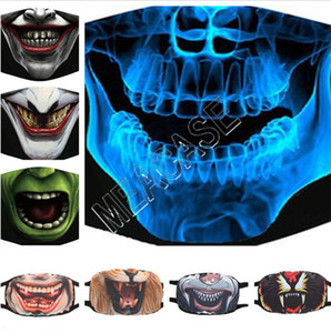Máscara protectora Halloween scary Máscaras expressão face Crânio animal Imprimir cobrir a boca Unisex adolescentes personalidade criativa Tampa D81302