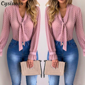 Cysincos Women Blouses 2020 Fashion Long Sleeve V-neck Pink Shirt Chiffon Office Blouse Slim Casual Tops Plus Size S-5XL