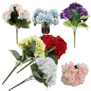 """Artificial Hydrangea Flower 5 Big Heads Bouquet (diâmetro 7"""" cada cabeça) Vermelho"""