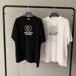 2021 Европа Франция Париж vêtements Магазин НЕ ДНЕМ НЕ SAD Вышивка Tshirt Мода Мужские футболки Женские одежды Casual Cotton Tee