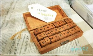 Fast Shipping Wholesale Creative Lowercase Uppercase Alphabet Wood Rubber Stamps Set With Wooden box,50sets lot SN2635