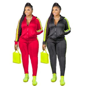 2020 hot sale women street movement style sets long sleeve lapel zipper top elastic long pants striped two piece sets