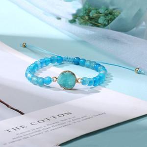 Handmade Druzy Resin Stone Bead Bracelet Adjustable Natural Stone Beads Matte Onyx Turquoises Braided Bracelet Friendship Jewelry