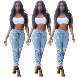 Waist Sashed Pencil Pants Fashion Street Style Washed Jeans for Women Ripped Hole Women Jeans Casual Mid