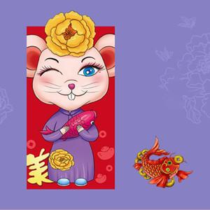 6pcs / set aniversário Festival da Primavera dinheiro de bolso Housewarming Rat Pattern Red Envelope Sorte dos desenhos animados 2020 Wedding Ano Novo Chinês