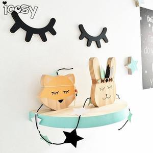 Icosy 3D الخشب رمش العين جدار ديكور السوط خلفية جدار عصا الأطفال أطفال غرفة الطفل ملصق ديكور المنزل قطرة شحن