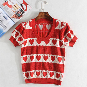 Puff sleeve red heart sweater women hollow out knitted pullovers 2019 new arrival S,M,L Drop Shipping