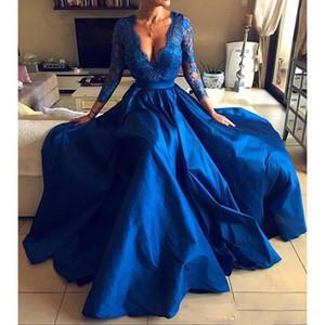 Глубокий V-образным вырезом кружева Длинные Пром платья стороны высокого Разделить с длинными рукавами Вечерние платья плюс размер развертки поезд Vestidos De Festa Ogstuff