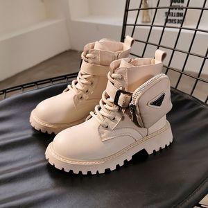 Детская обувь Мода Мартин сапоги 2020 зима новый Детская обувь Мальчики мода Покрытие Side Zipper Boots Девушка все-матч Boots