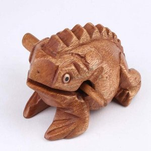Thailand Lucky Frog with Drum Stick Traditional Craft Home Office Decor Wooden Art Figurines Miniatures