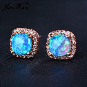 JUNXIN Luxury Female Rainbow Fire Opal Stud Earrings For Women Rose Gold Blue White Opals Purple Green Zircon Wedding Ear Studs